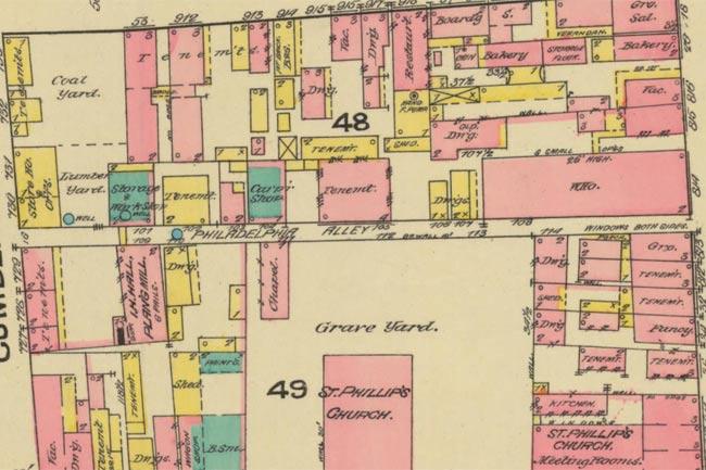 1884 Sanborn Map of Charleston's Philadelphia Alley