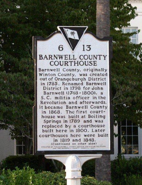Barnwell Court House Marker