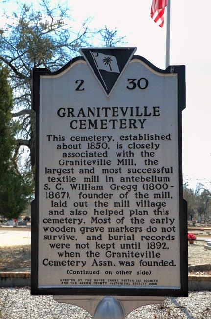 Graniteville Cemetery Marker Front