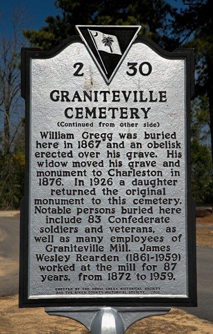 Graniteville Cemetery Marker Rear