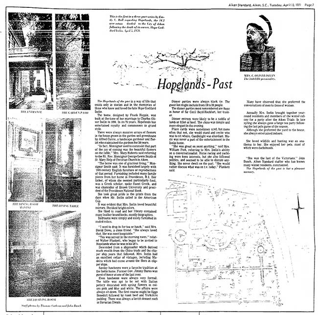 Hopelands Gardens Aiken Standard Article