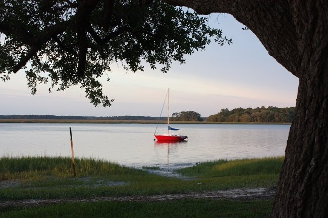 Sailboat on the May River in Bluffton