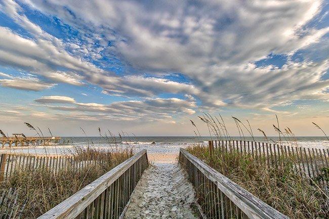 Walk onto Beach by Springmaid Pier