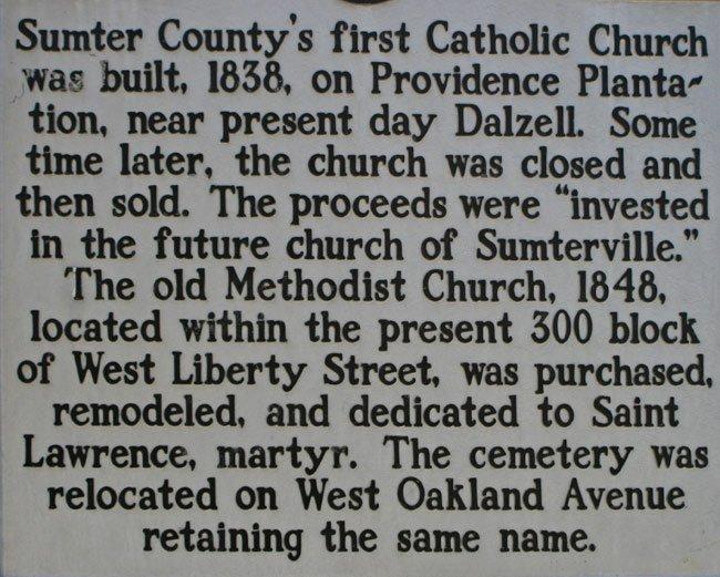 Sumter County Catholic Marker