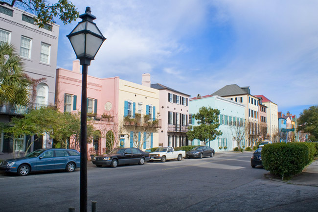 Rainbow row charleston south carolina sc for Charleston row houses