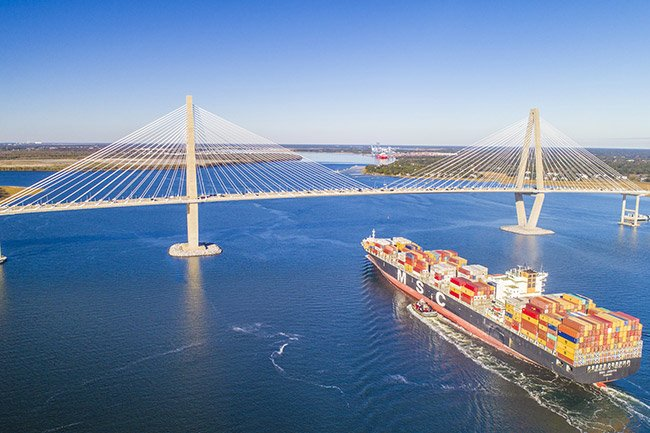 Ravenel Bridge with Cargo Ship