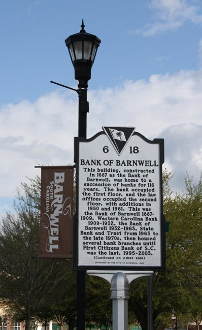Bank Of Barnwell Marker