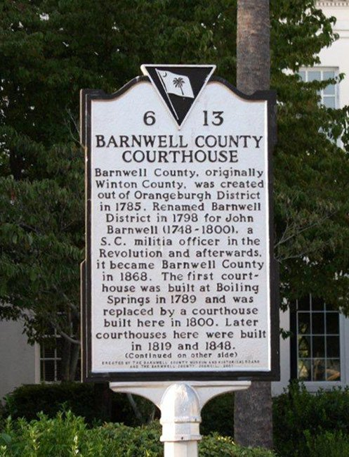 Barnwell Court House Marker