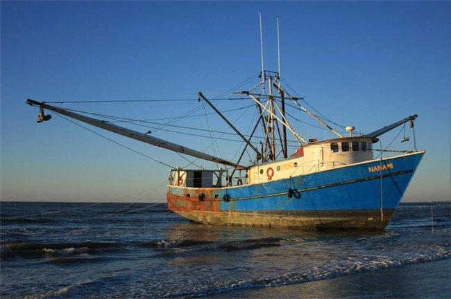 Beached Trawler on Kiawah