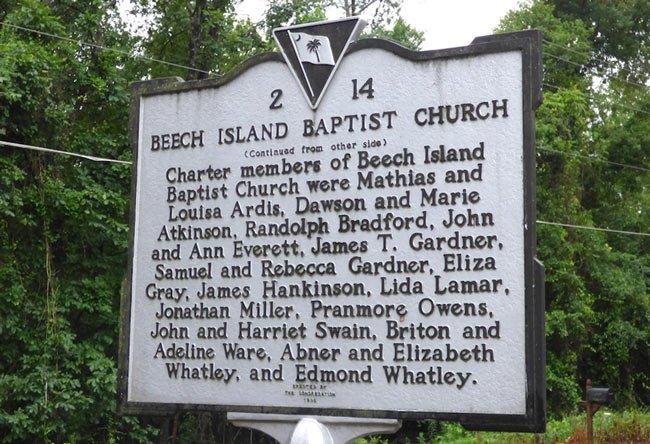 Beech Island Baptist Marker Back