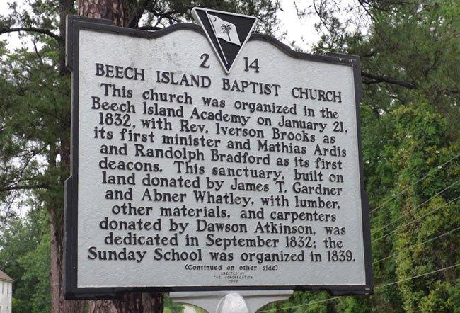 Beech Island Baptist Marker Front