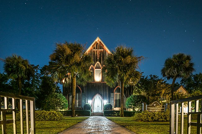 Bluffton, Church of the Cross at Night
