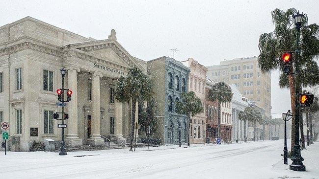 Charleston's Broad Street in Snow