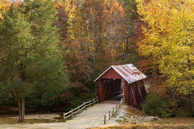 Campbell's Covered Bridge, Gowensville, Fall