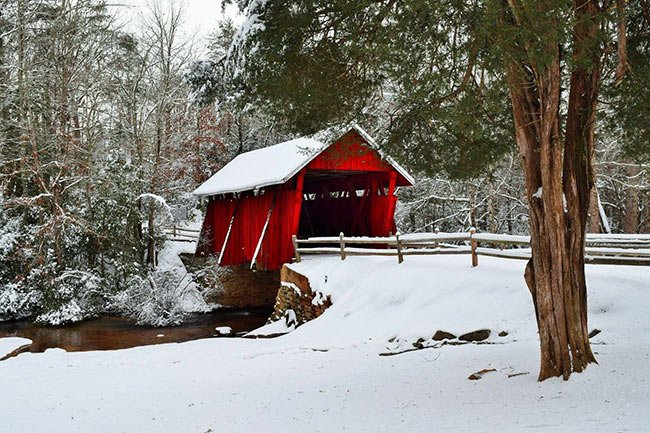 Campbell's Covered Bridge Landscape in Snow