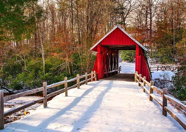 Campbells Covered Bridge Snow