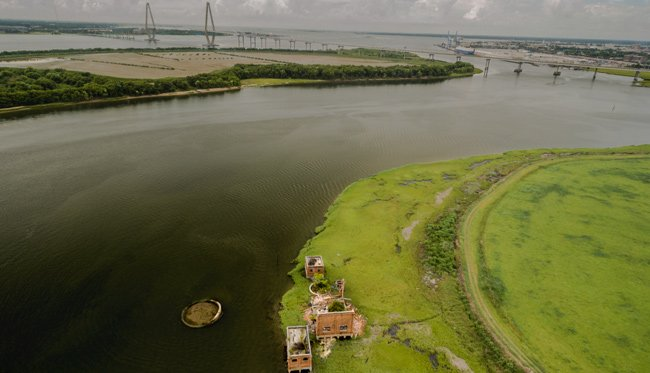 Coal Tipple Ravenel Bridge Aerial