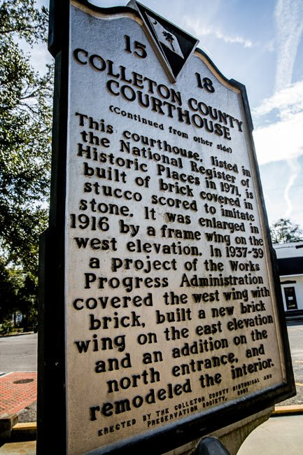 Colleton County Courthouse Marker Back