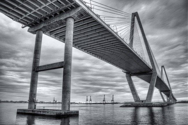 Cooper River Bridge in Black and White