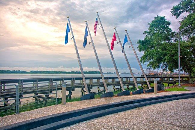 Flags at Memorial Park in North Charleston