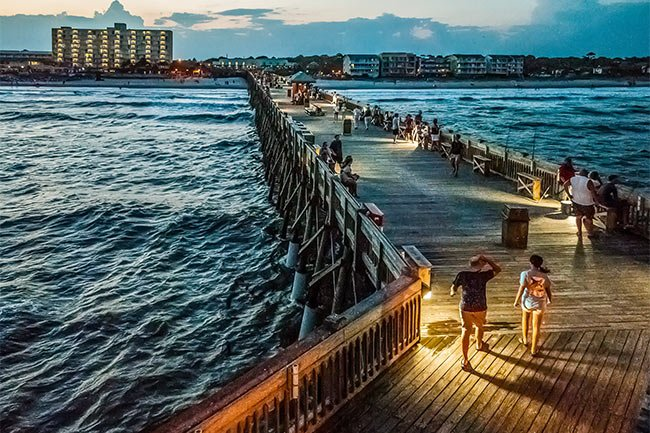 Folly Beach Pier at Night with Visitors