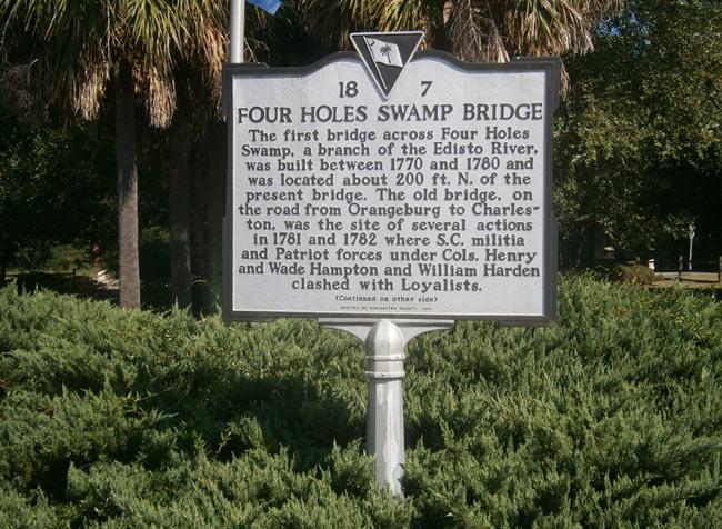 Four Holes Swamp Bridge Marker