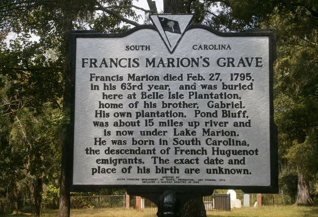 Francis Marion Grave Sign