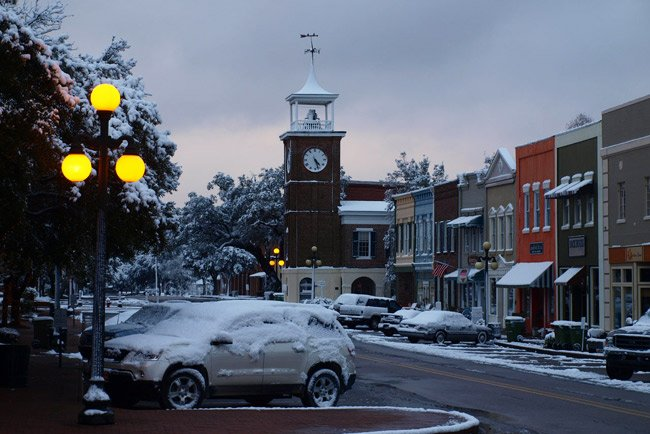 Snowy Georgetown Town Clock