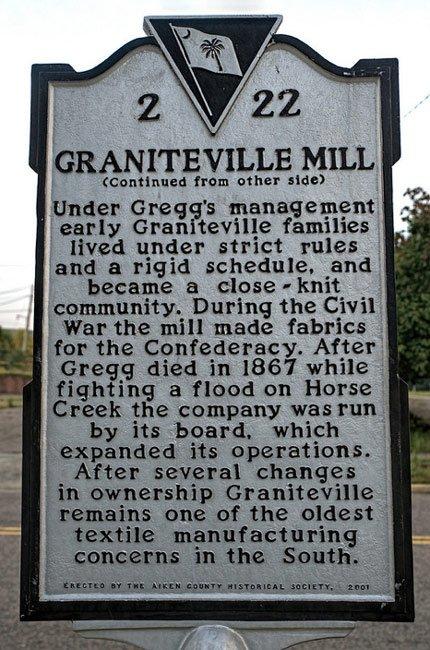 Graniteville Mill Marker Back