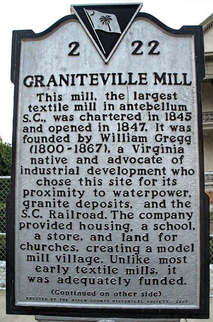 Graniteville Mill Marker