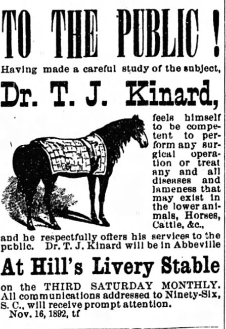 Hill's Livery Stable Ad