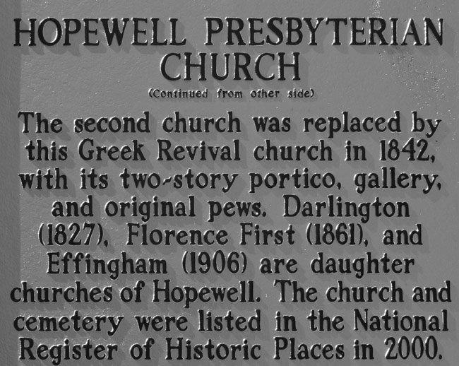 Hopewell Presbyterian Marker Back