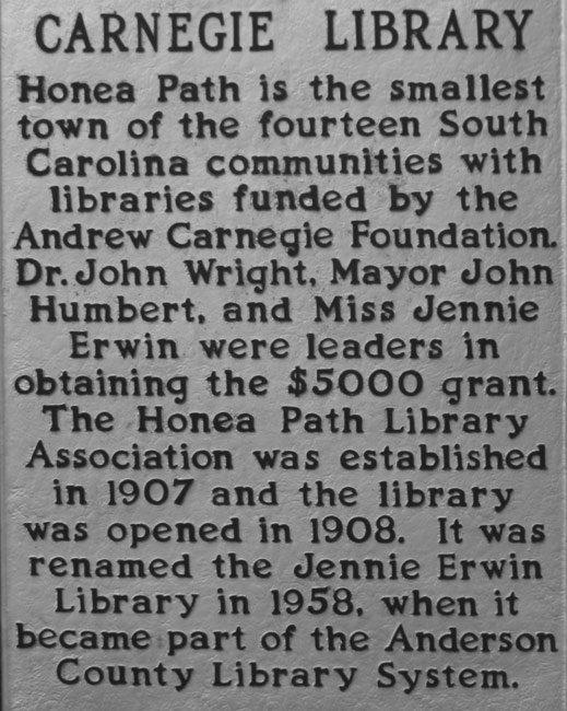 Jennie Erwin Library Marker