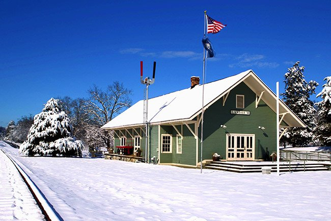 Landrum Train Depot in Winter