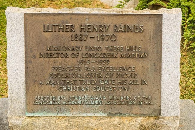 Luther Henry Raines Plaque