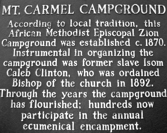 Mt. Carmel Campground Marker