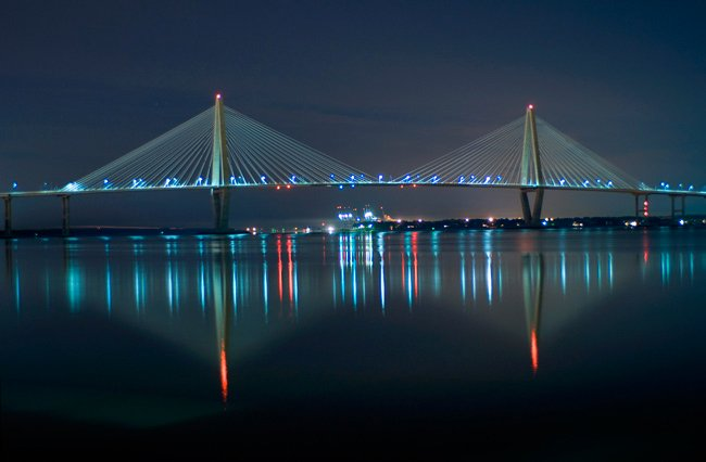Author Ravenel Bridge at Night