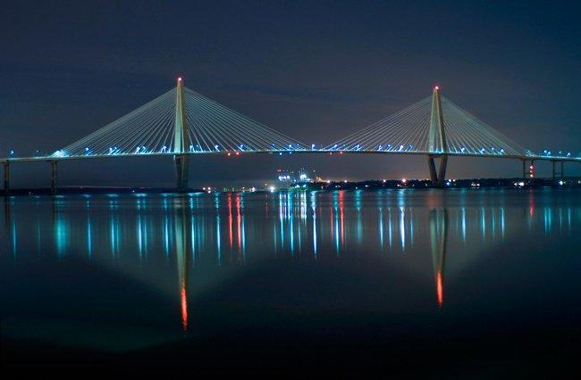 Author Ravenel Bridge at Night