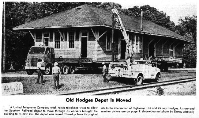 Old Hodges Depot is Moved