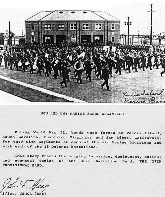 Parris Island Marine Band Historical