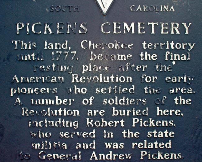 Pickens Cemetery Marker
