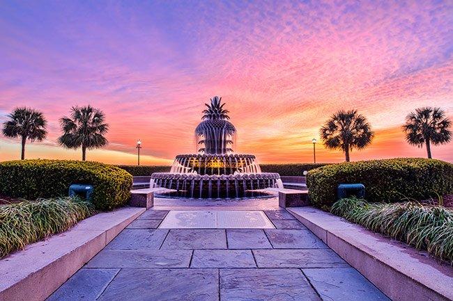 Pineapple Fountain at Sunrise, Charleston