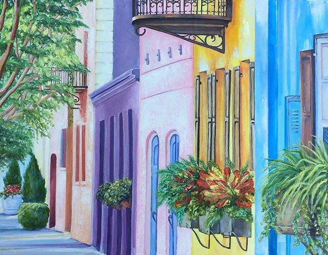 Rainbow Row Painting