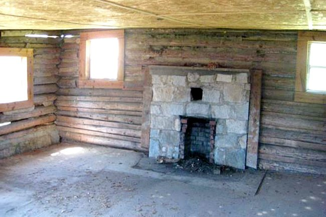Senea Faith Cabin Library Fireplace