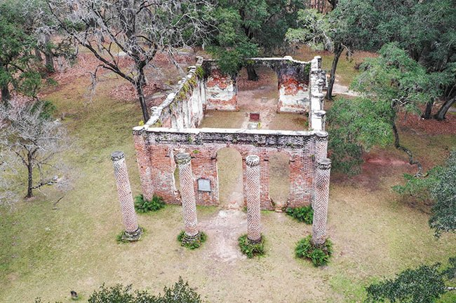 Sheldon Church Ruins Aerial