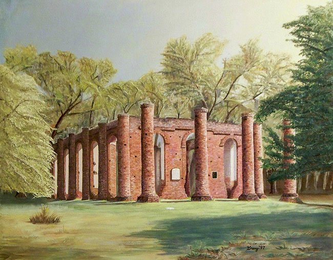 Old Sheldon Church Ruins Painting
