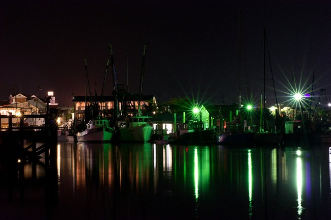 Shem Creek @ night, boats and lights