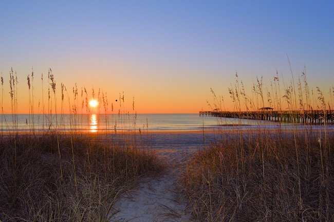 Sunset at Springmaid Pier in Myrtle Beach