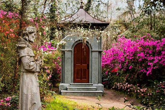 St. Francis statue at Magnolia Gardens
