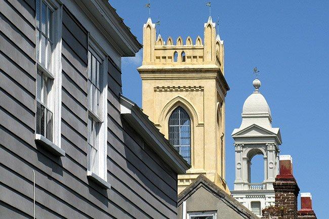 St. John's Lutheran Church Steeple, far back